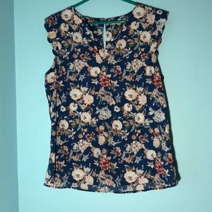 41 Howthorn sleeveless blue floral blouse SZ L